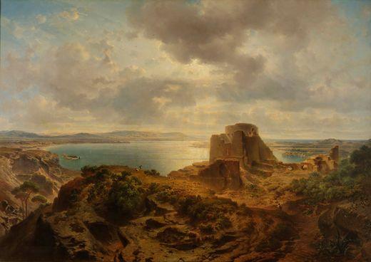 Fritz Bamberger, Albufera-See bei Valencia, 1862, Öl auf Leinwand, Museum im Kulturspeicher