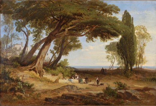 August Christian Geist, Der Brunnen von Ariccia, 1868, Öl auf Leinwand, Museum im Kulturspeicher, Foto W. Berberich