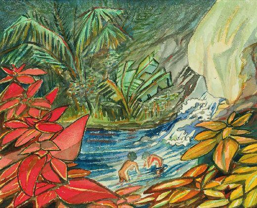 Max Dauthendey, Wasserfall von Amboina, 4. Juli 1914, Aquarell und Bleistift