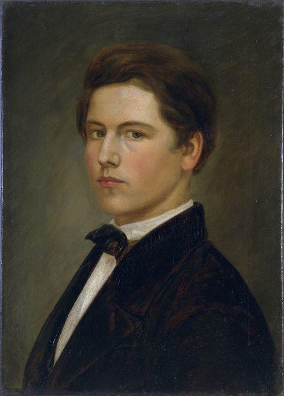 Öl auf Leinwand; Wilhelm Leibl, Jugendliches Selbstbildnis, um 1861