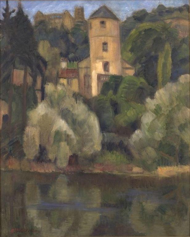 Öl auf Rupfen; Otto Modersohn, Schloss Wertheim (Weißer Turm), 1924
