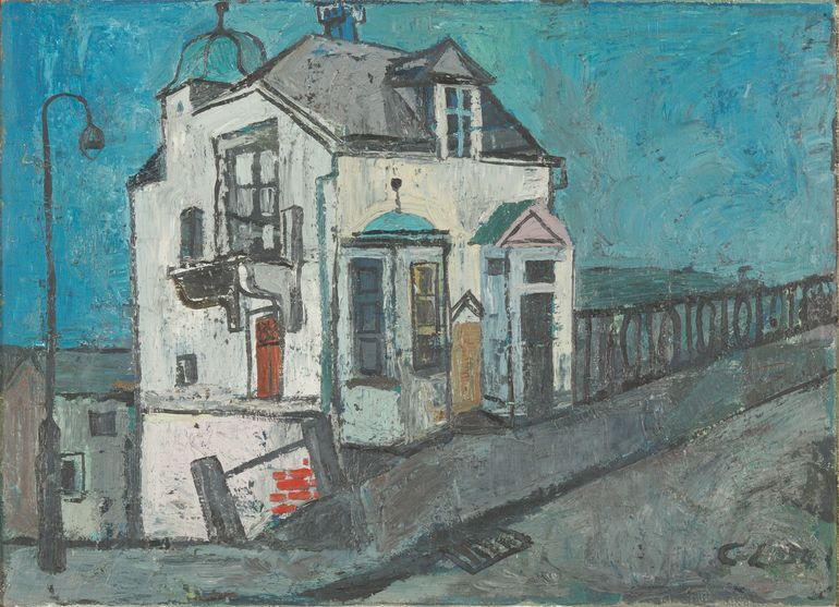 Öl auf Leinwand; Curd Lessig, Zollhaus, 1954