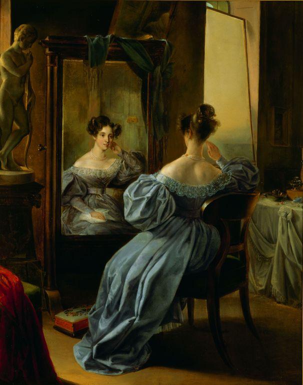 Ferdinand von Lütgendorff-Leinburg: Dame vor dem Spiegel (Frau von Muhr), 1834. Erworben am 4.7.1942 bei der Galerie Wolfgang Gurlitt, Berlin