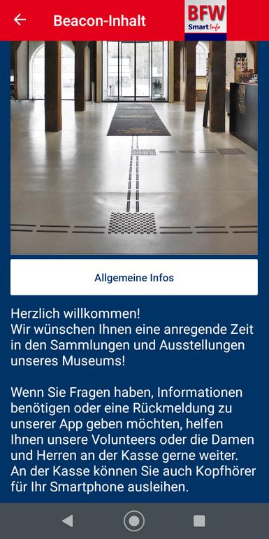 Screenshot der inklusiven Bfw-Smartinfo-App mit Eingangsbereich, Blindenleitsystem und Begrüßung Foto C.Rolfs ©MiK
