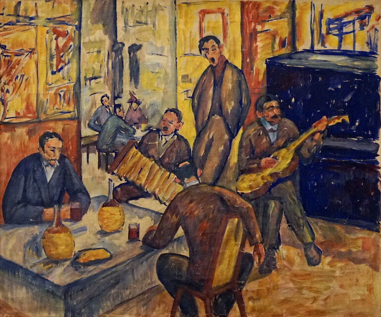 Gerbig, Alexander, Italienische Taverne (Künstlerkneipe Lapi in Florenz), 1913 Foto Galerie Brusberg ©Galerie Brusberg, Berlin
